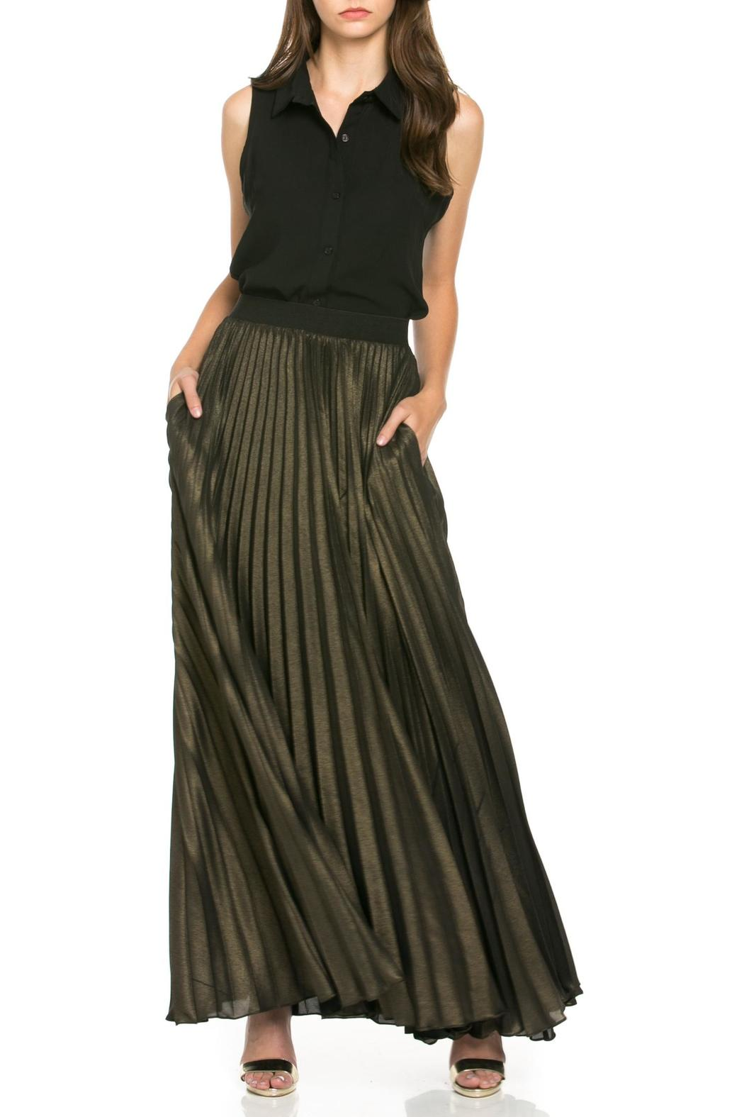 MHGS Gold Pleated Maxi - Front Cropped Image