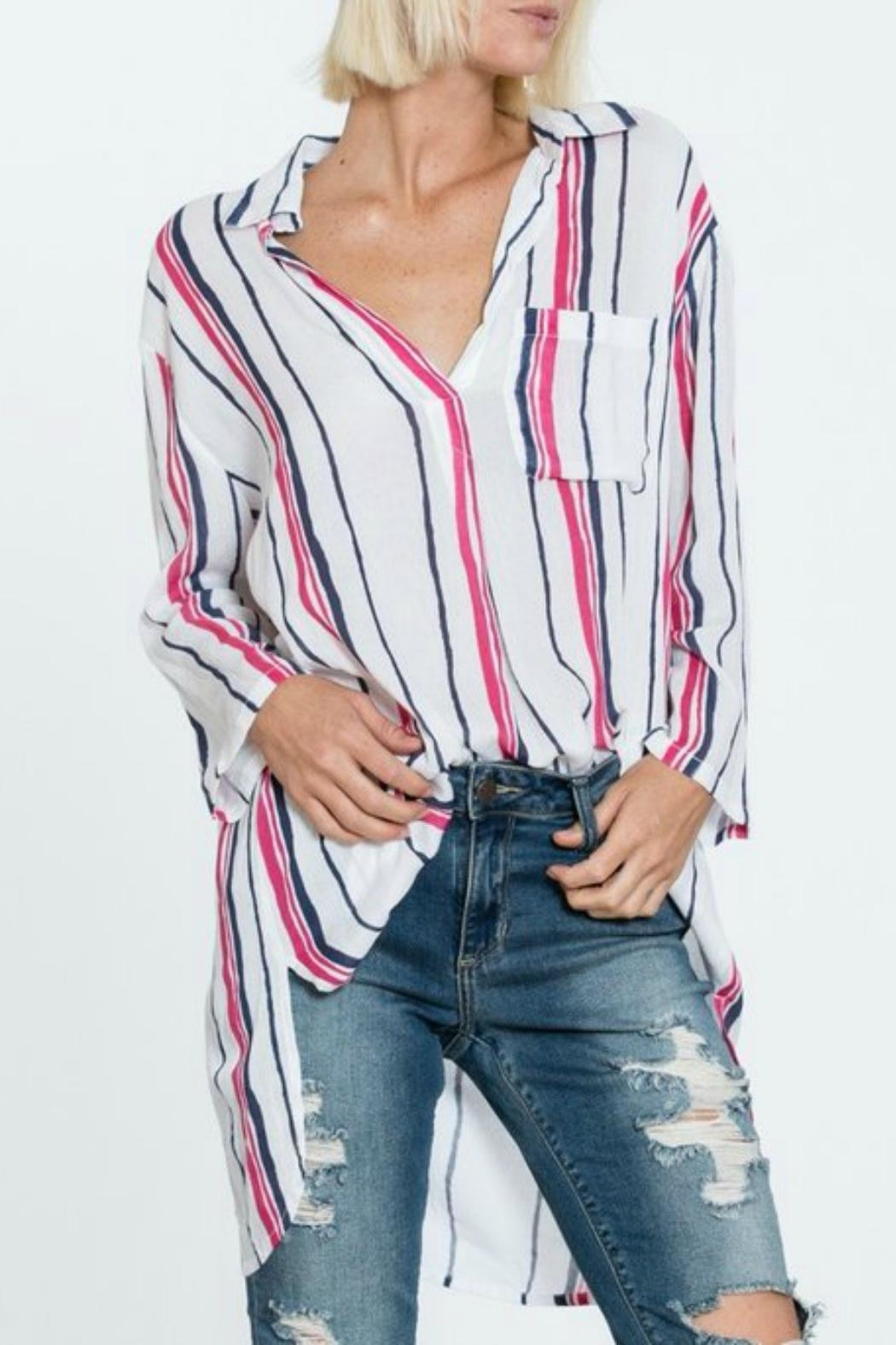 MHGS Stripe Shirt Dress - Front Cropped Image