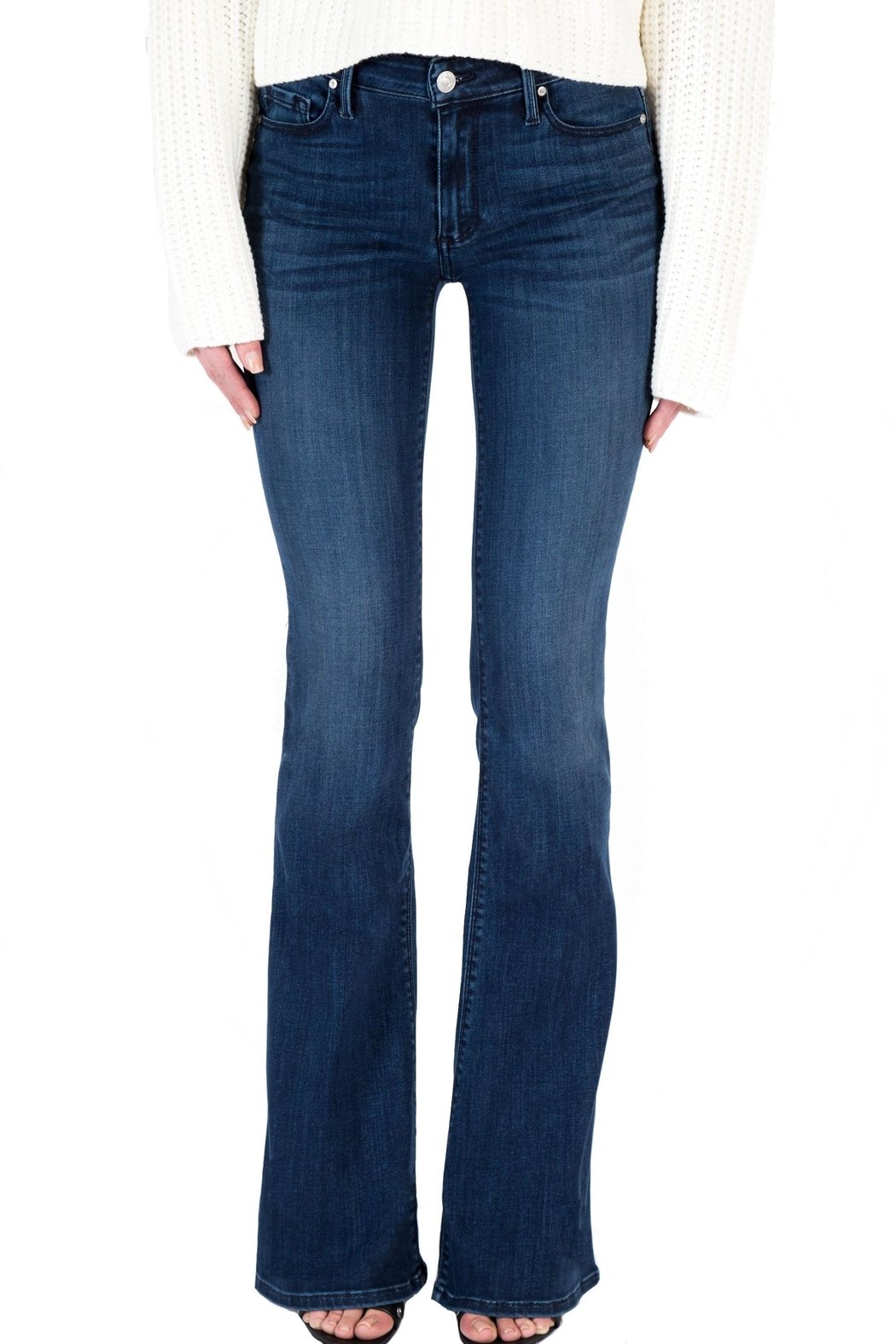 Black Orchid Denim Mia Mid Rise Skinny Flare Denim - Front Cropped Image