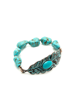 Shoptiques Product: Turqouise Leaf Stretch Bracelet