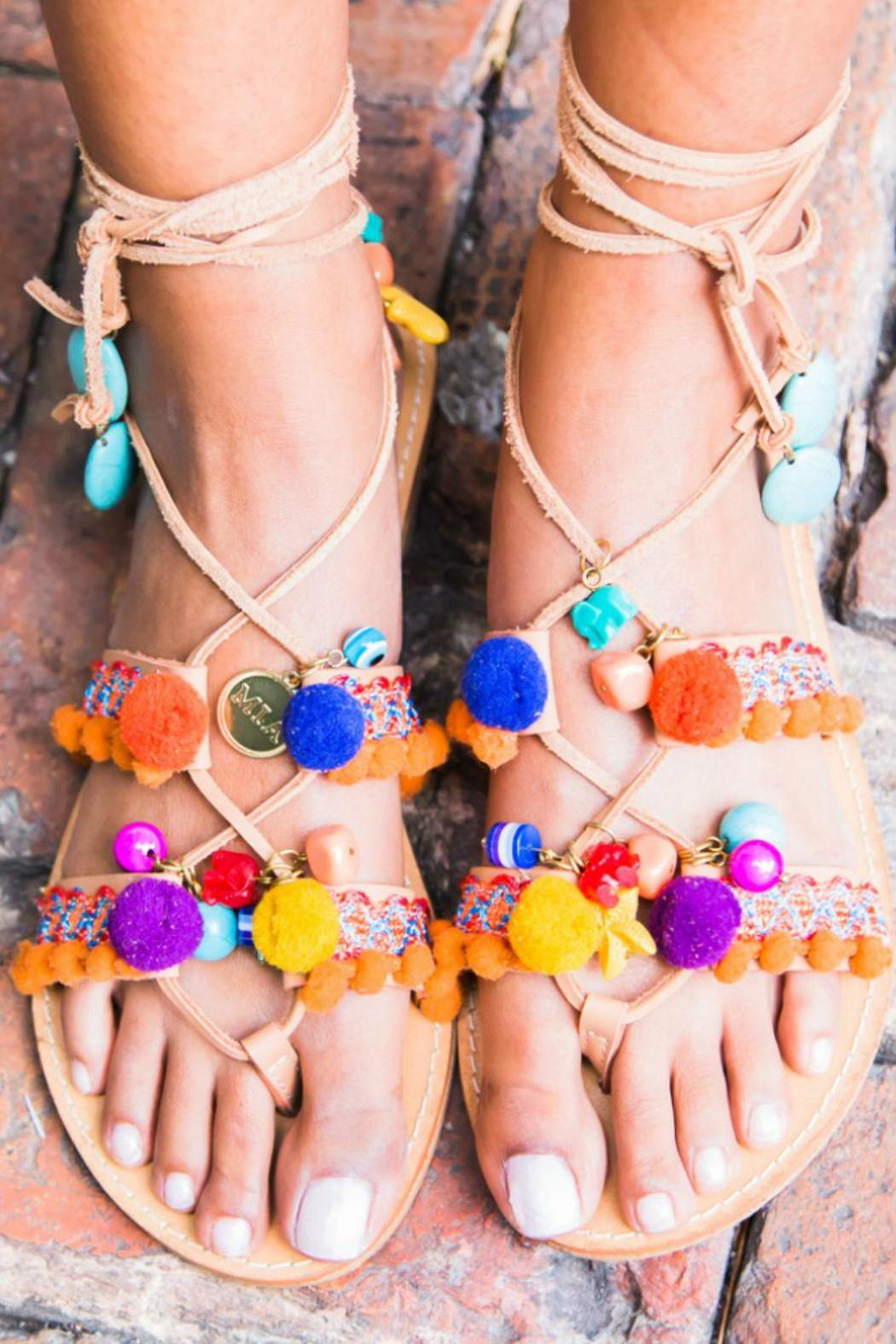 MIA Shoes Pom Pom Sandals - Front Full Image