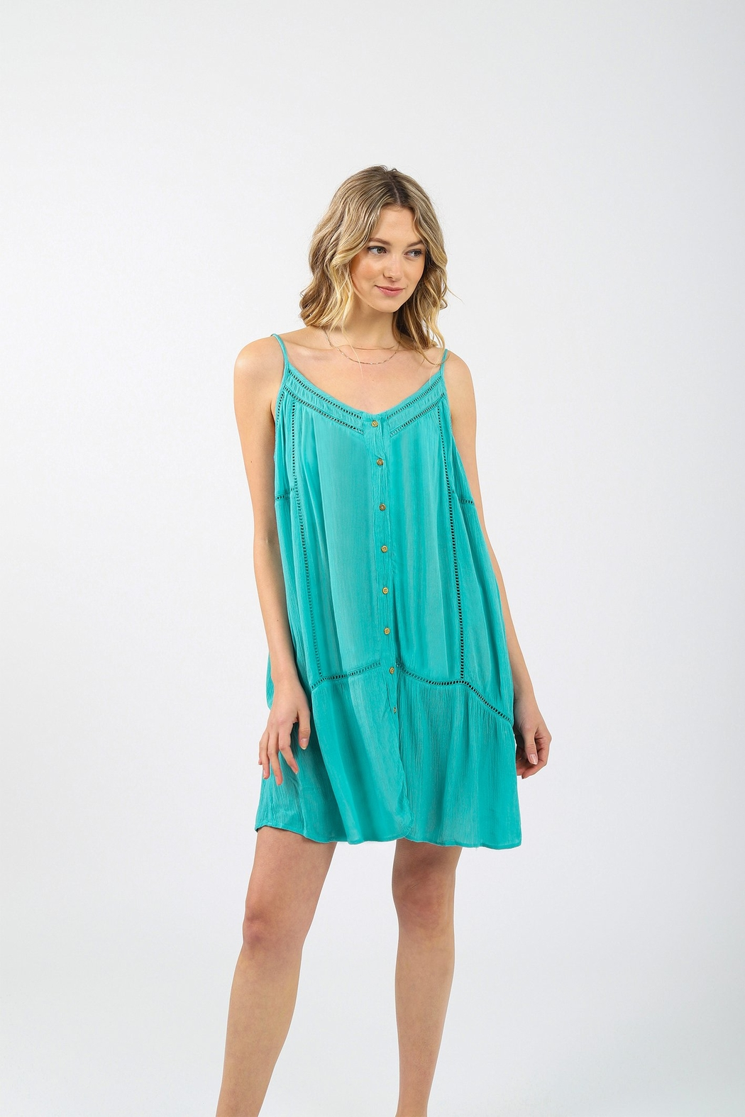 Koy Resort Miami Strappy Button Up Dress - Front Cropped Image
