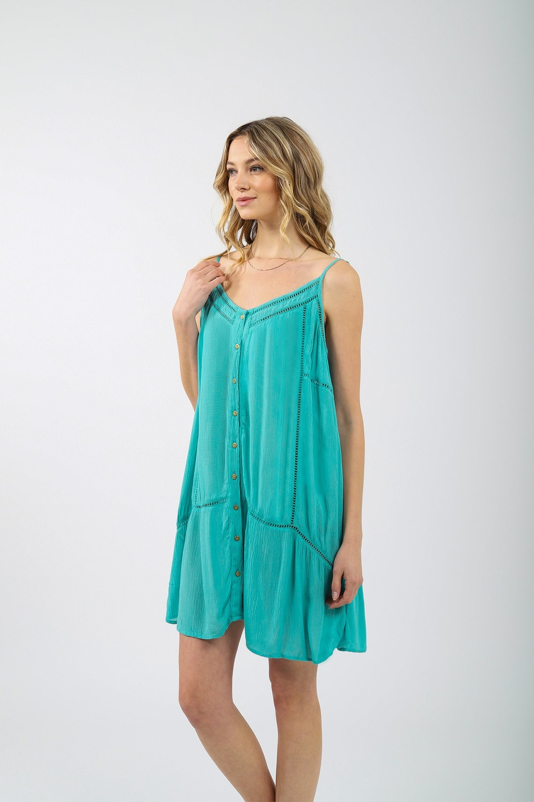 Koy Resort Miami Strappy Button Up Dress - Front Full Image
