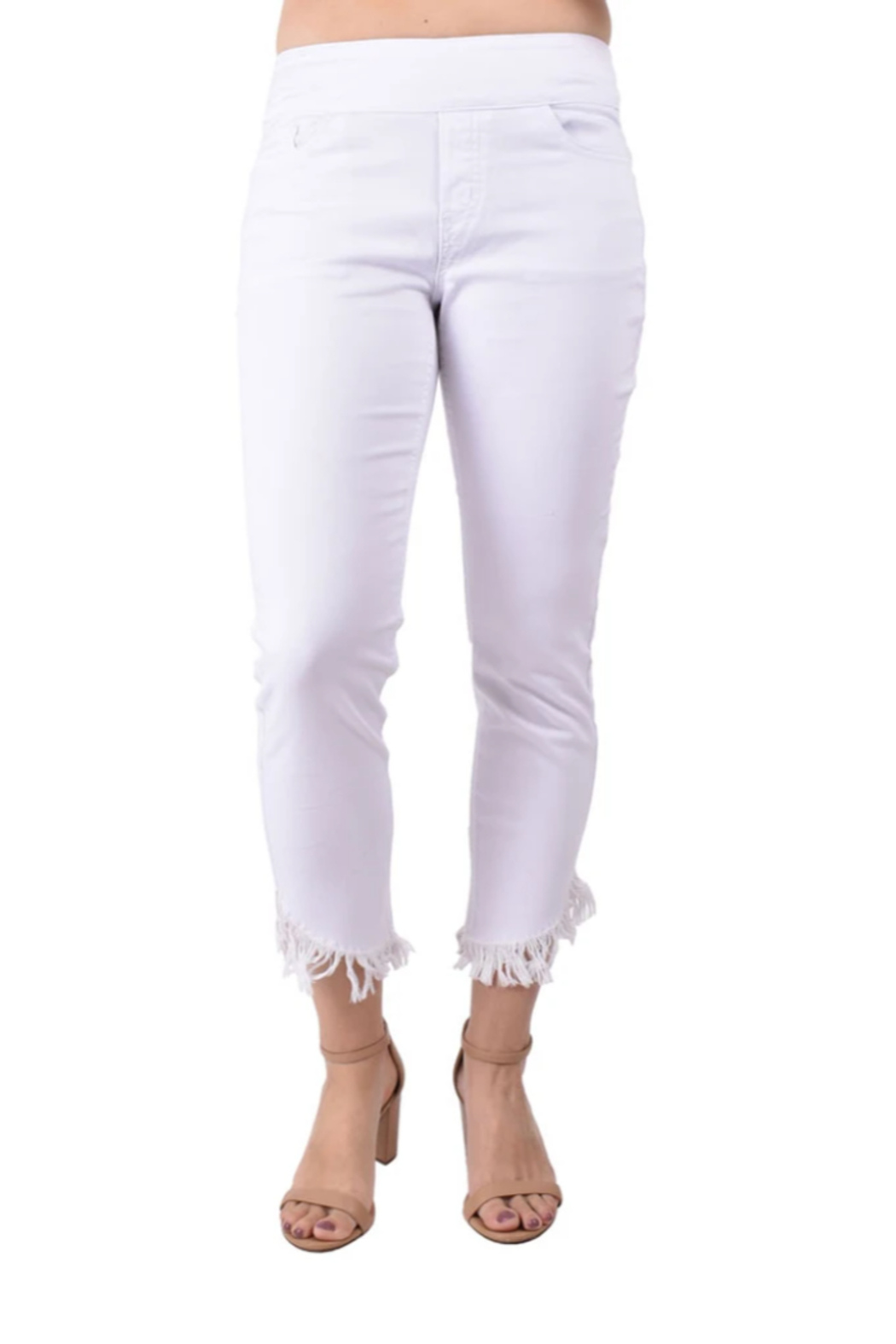 Ethyl  Miami White Fringe Ankle Jean - Front Cropped Image