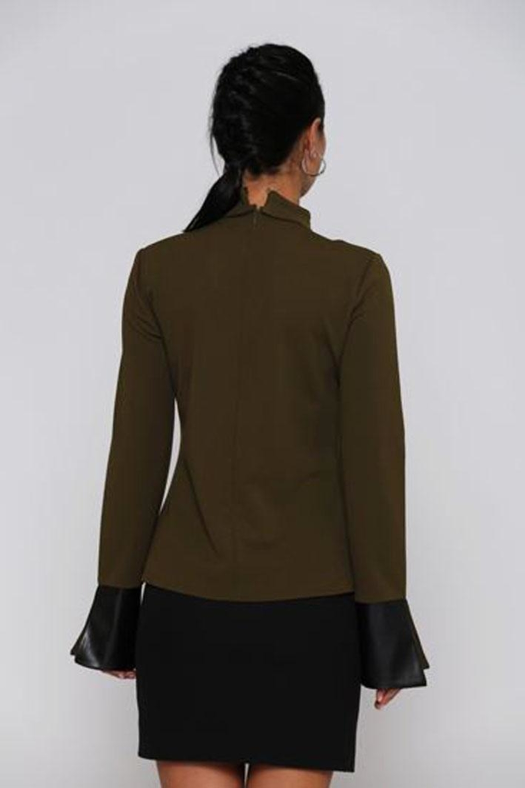 Miarte Olive Cut-Out Blouse - Front Full Image