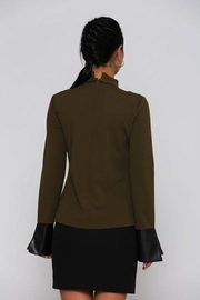 Miarte Olive Cut-Out Blouse - Front full body