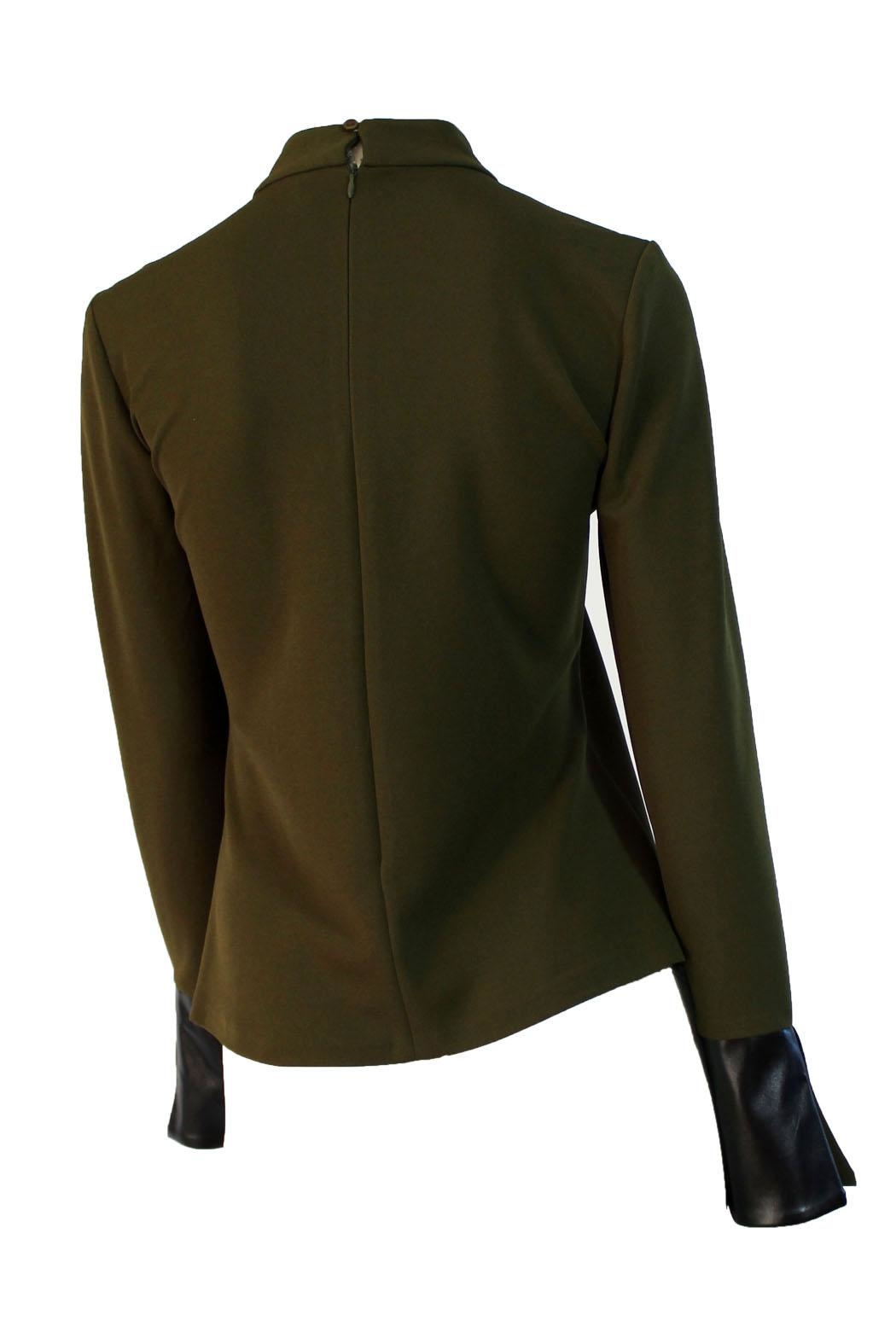 Miarte Olive Cut-Out Blouse - Back Cropped Image