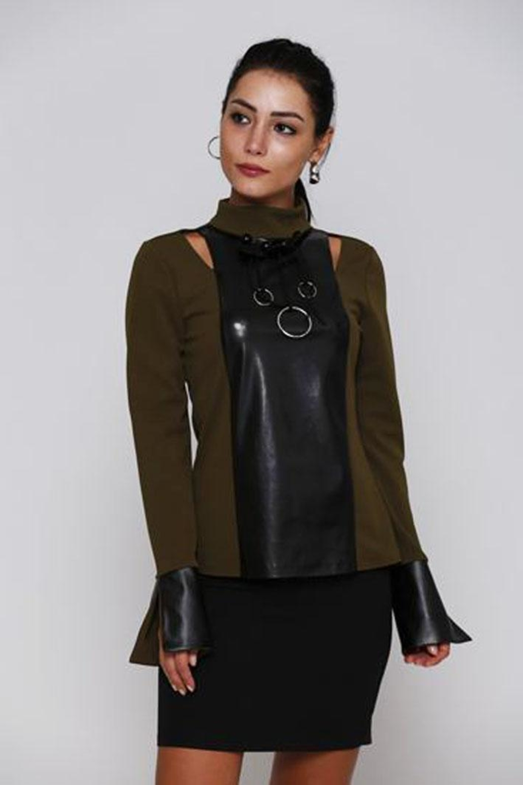 Miarte Olive Cut-Out Blouse - Front Cropped Image