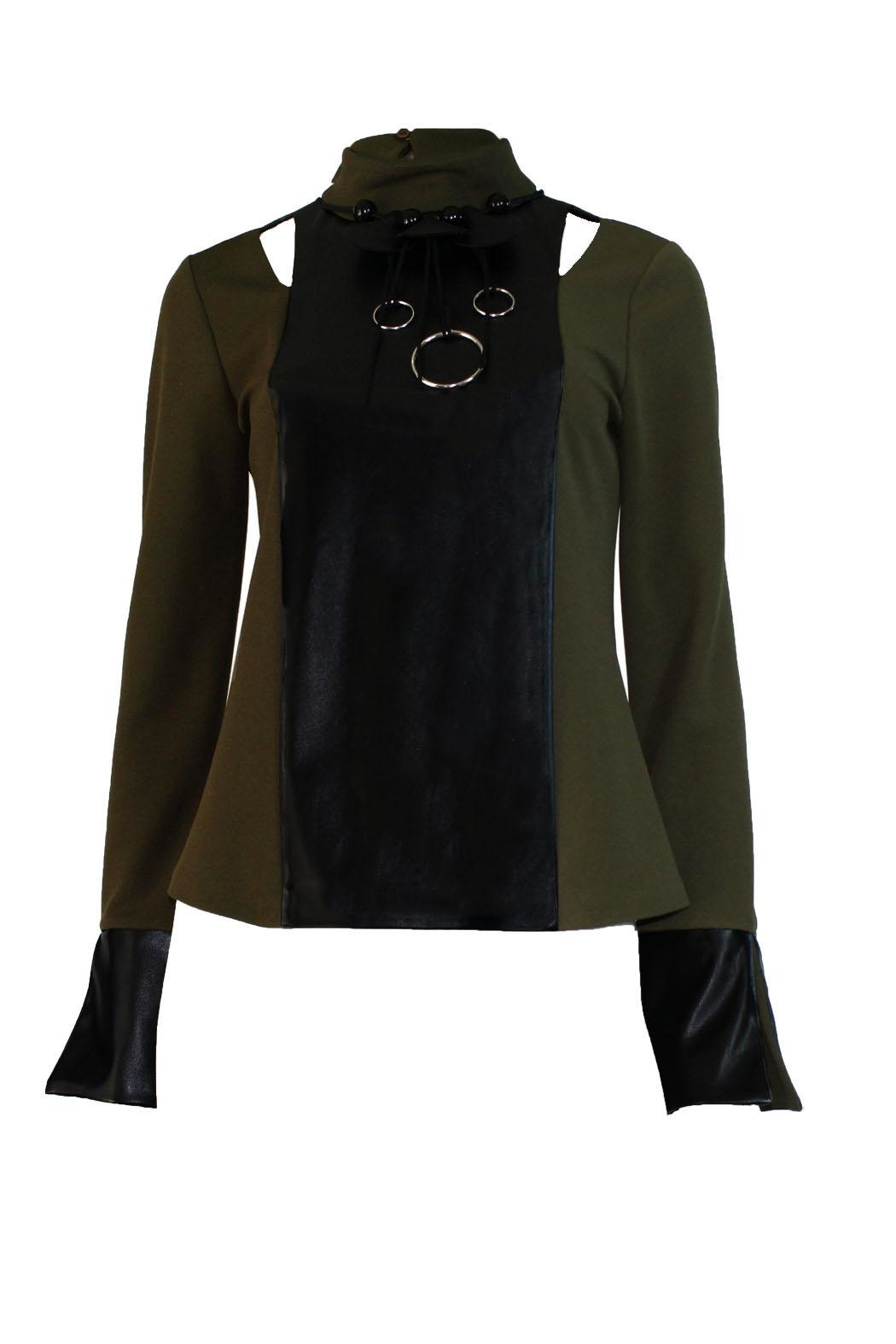 Miarte Olive Cut-Out Blouse - Side Cropped Image