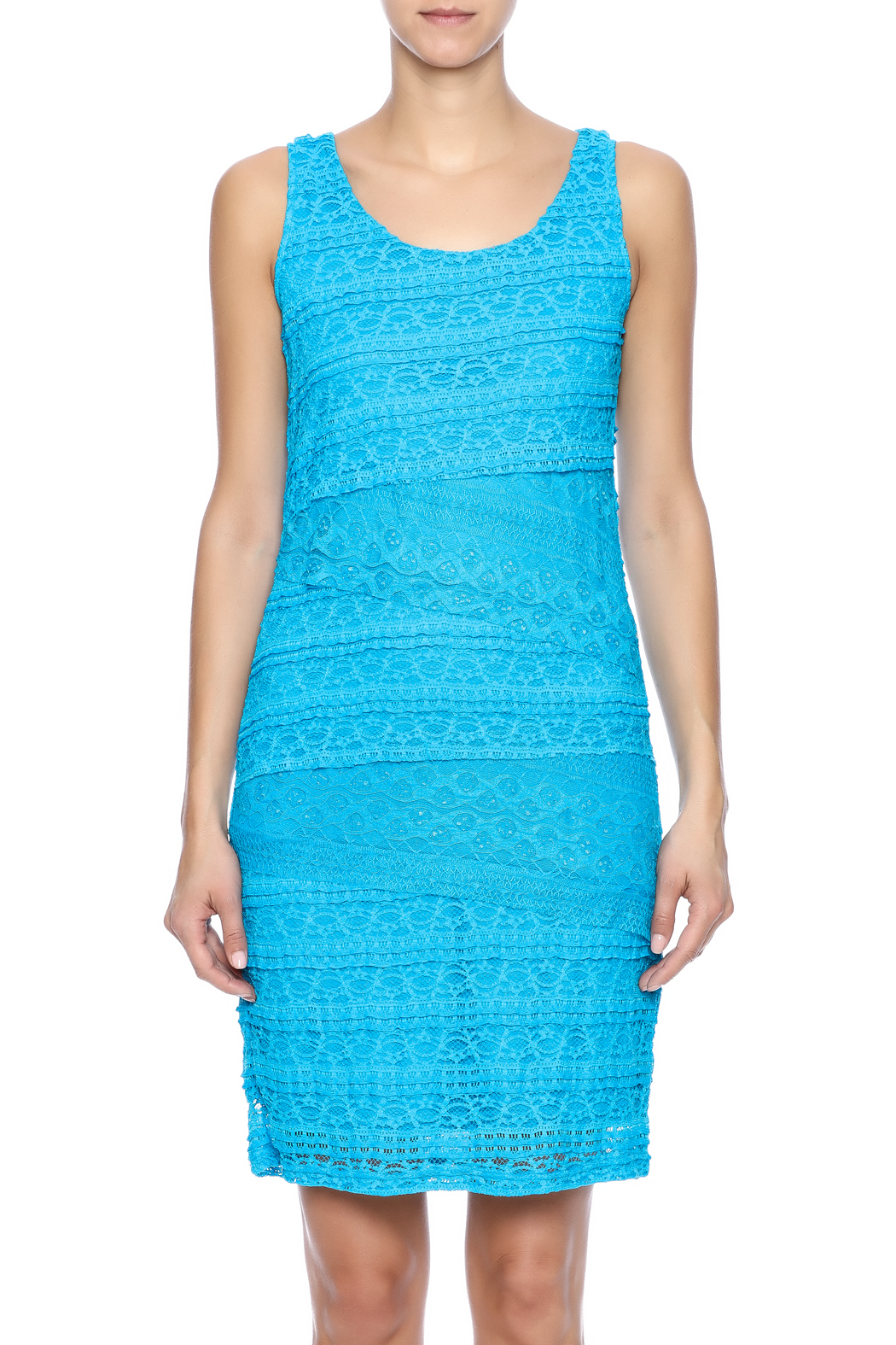 Michael Edwards Turquoise Lace Dress - Side Cropped Image