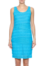 Michael Edwards Turquoise Lace Dress - Side cropped
