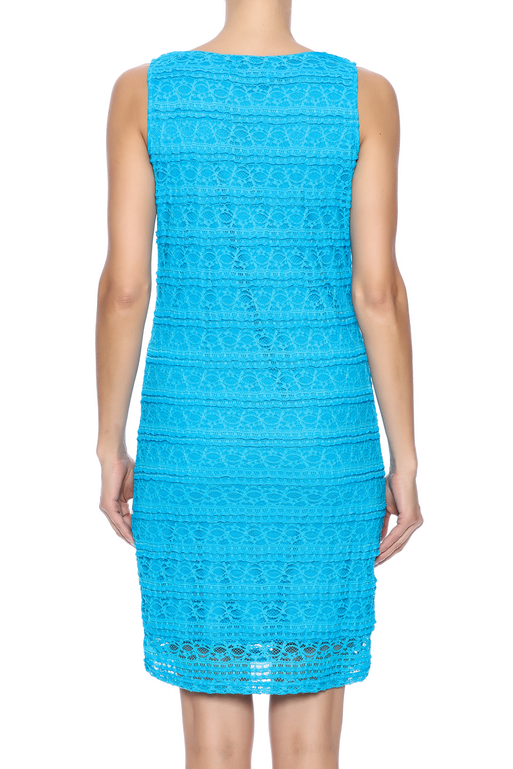 Michael Edwards Turquoise Lace Dress - Back Cropped Image