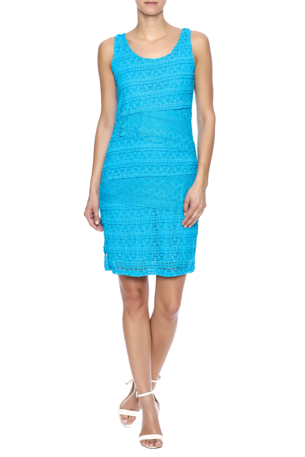 Michael Edwards Turquoise Lace Dress - Front Full Image