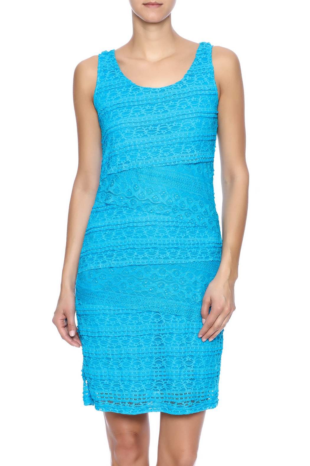 Michael Edwards Turquoise Lace Dress - Front Cropped Image