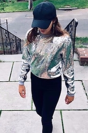 Collection Michael Kors  Pearl Grey Sequin Sweater - Product Mini Image