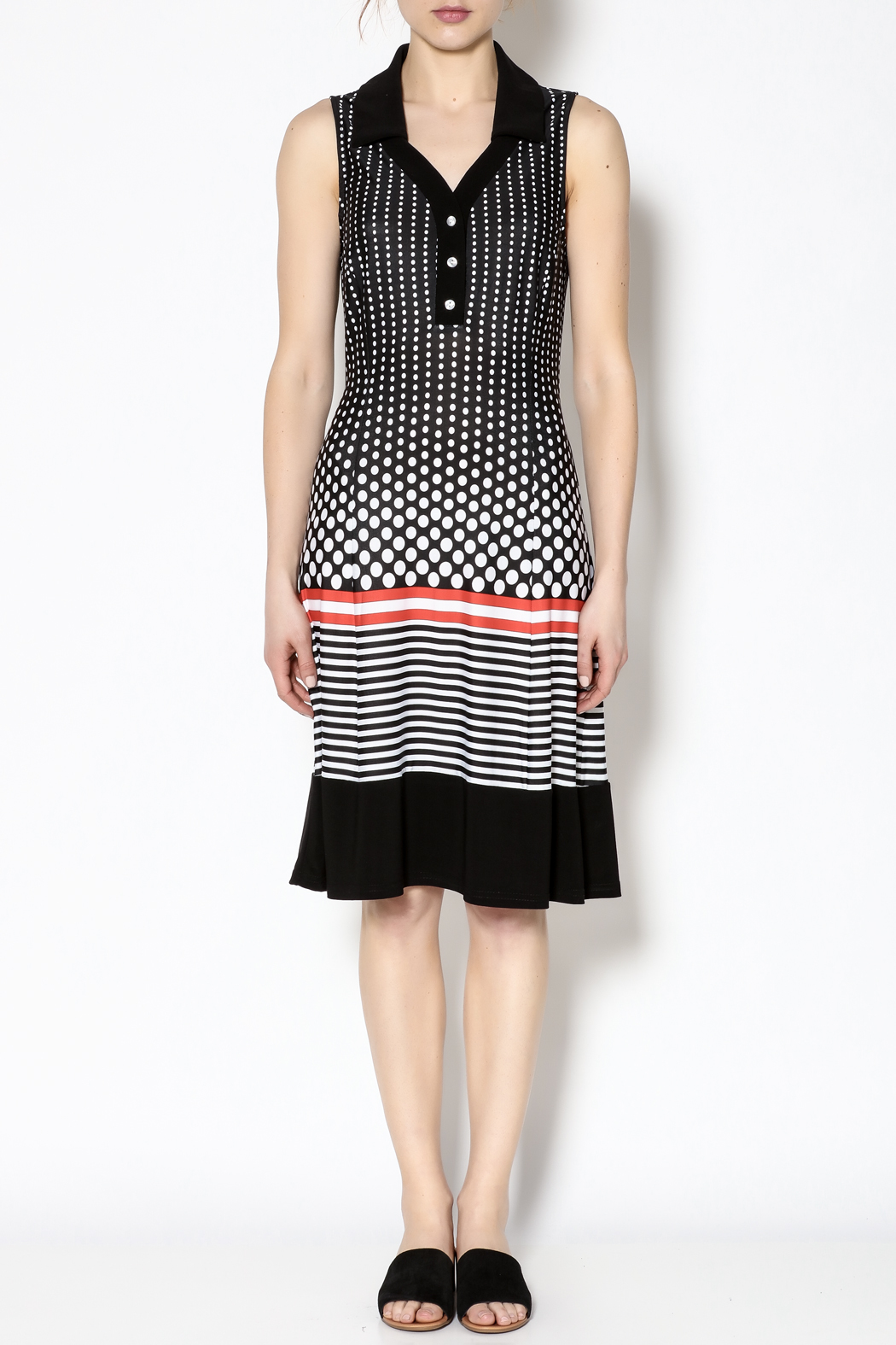 Michael Tyler Collections Polka Dot Dress - Front Cropped Image