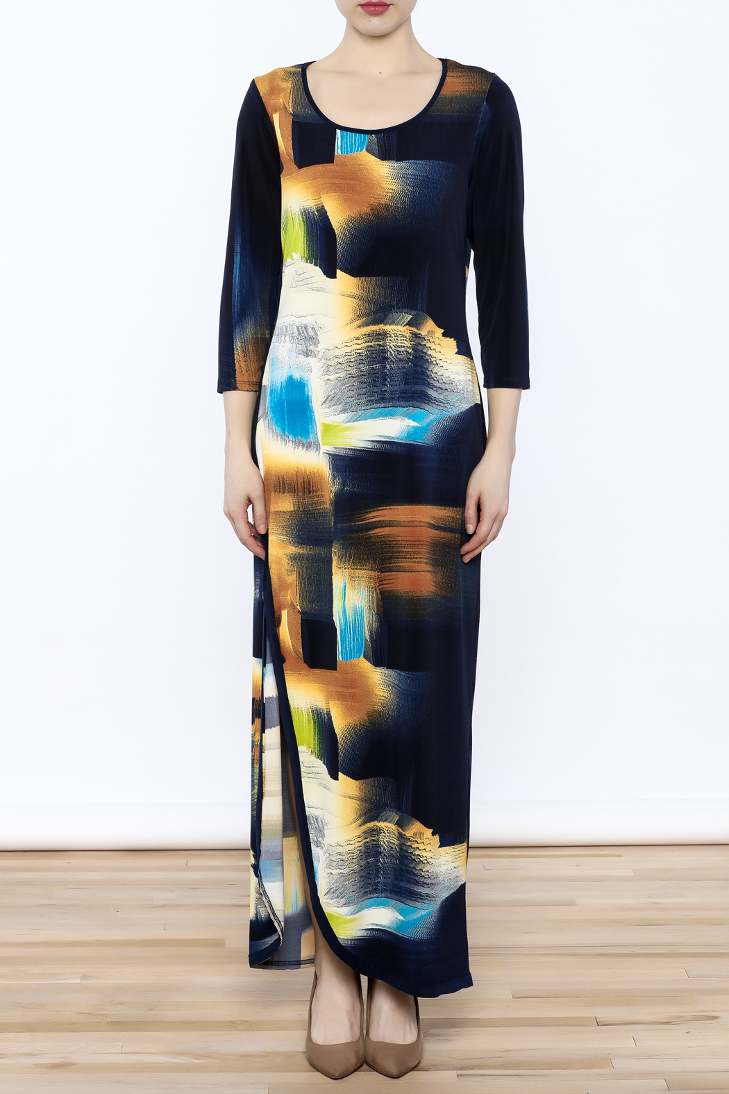 Michael Tyler Collections Abstract Maxi Dress - Front Full Image