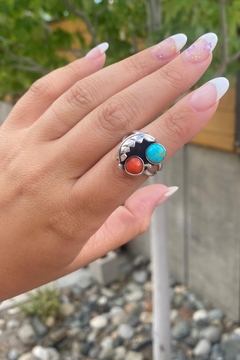 Michael and Sons Coral And Turquoise Feather Ring - Alternate List Image