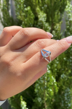 Michael and Sons S/s Pear Moonstone Ring - Alternate List Image