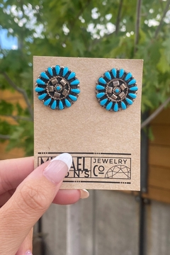 Michael and Sons Traditional Petty Point Turquoise Earrings - Alternate List Image