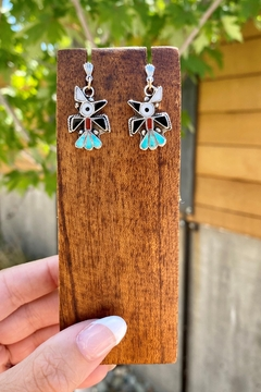 Michael and Sons Turquoise And Opal Inlay Bird Earrings - Alternate List Image