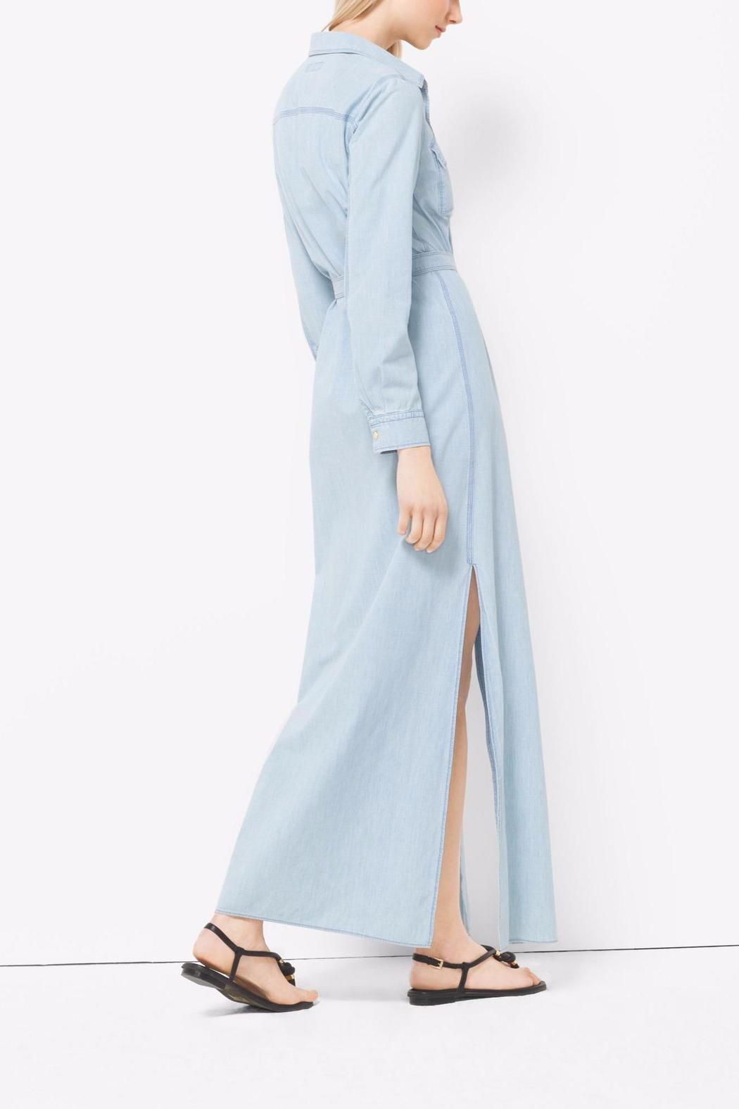 1125c8c55f Michael by Michael Kors Chambray Maxi Shirt Dress - Side Cropped Image