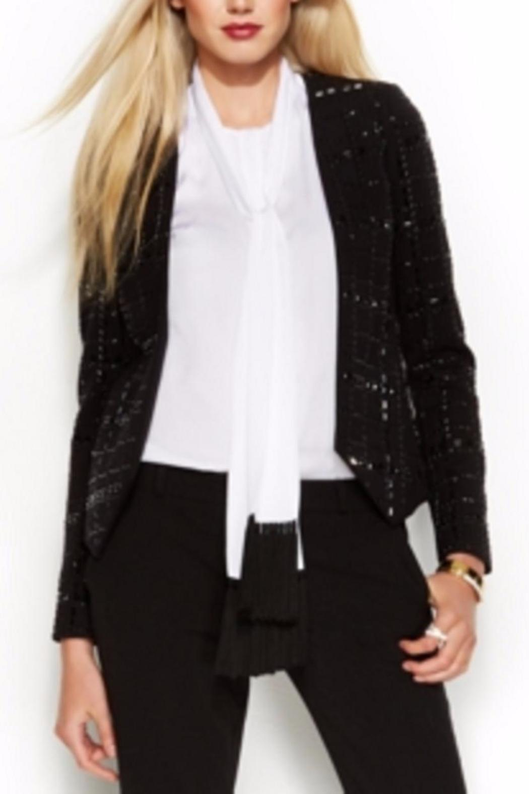 Michael by Michael Kors Collarless Beaded Jacket - Back Cropped Image