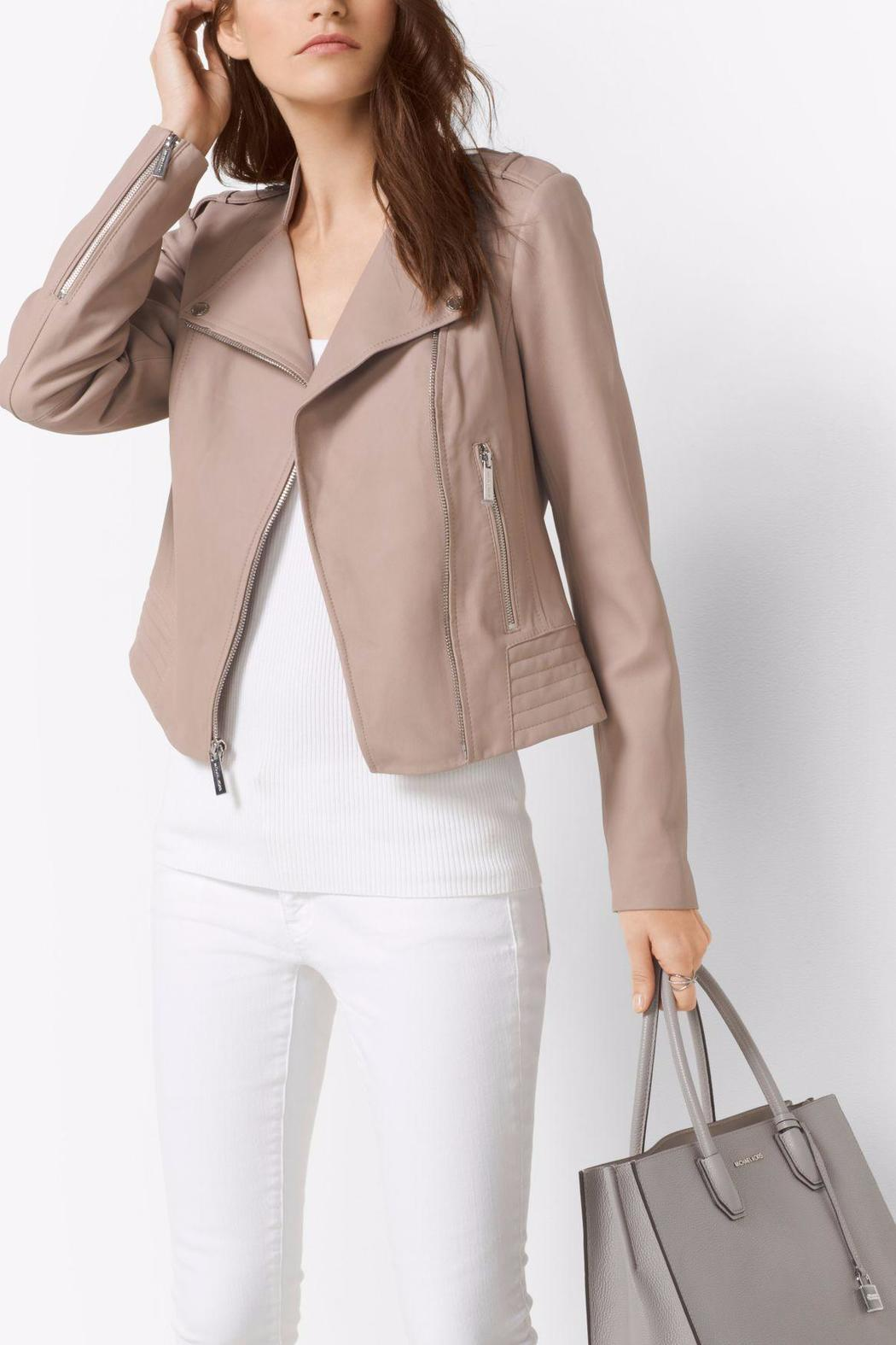 Michael By Kors Leather Moto Jacket Front Cropped Image