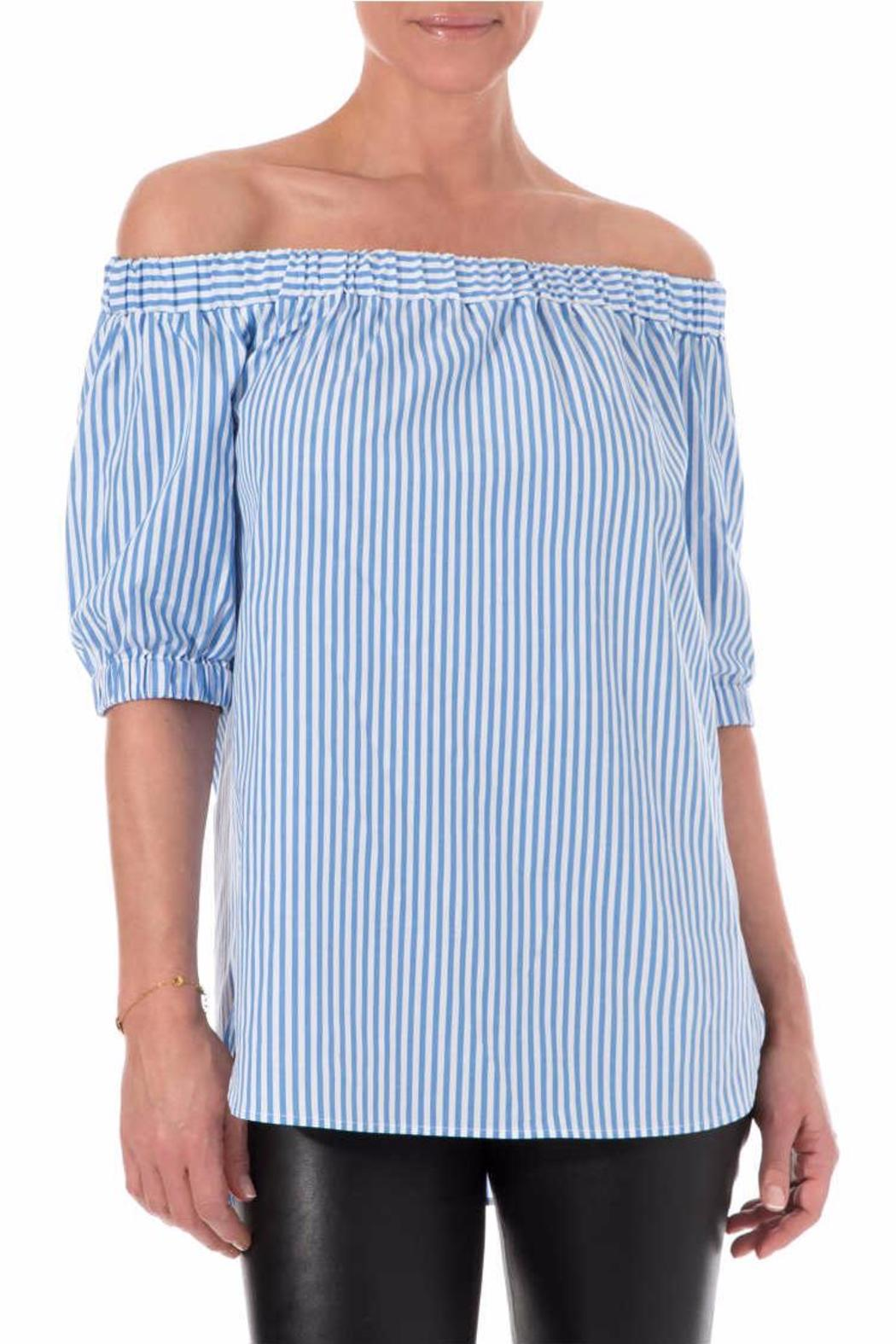 Michael by Michael Kors Off The Shoulder Striped - Front Cropped Image