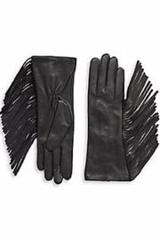 Michael by Michael Kors Side-Fringe Leather Gloves - Front cropped