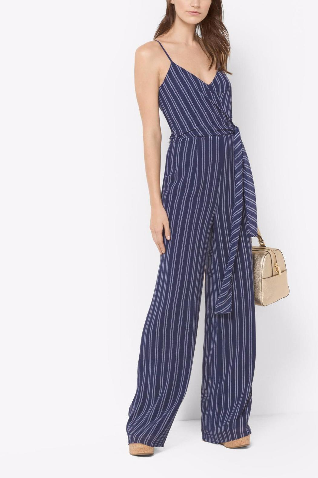 3557d3e1a732 Michael by Michael Kors Striped Tie Waist Jumpsuit - Front Cropped Image