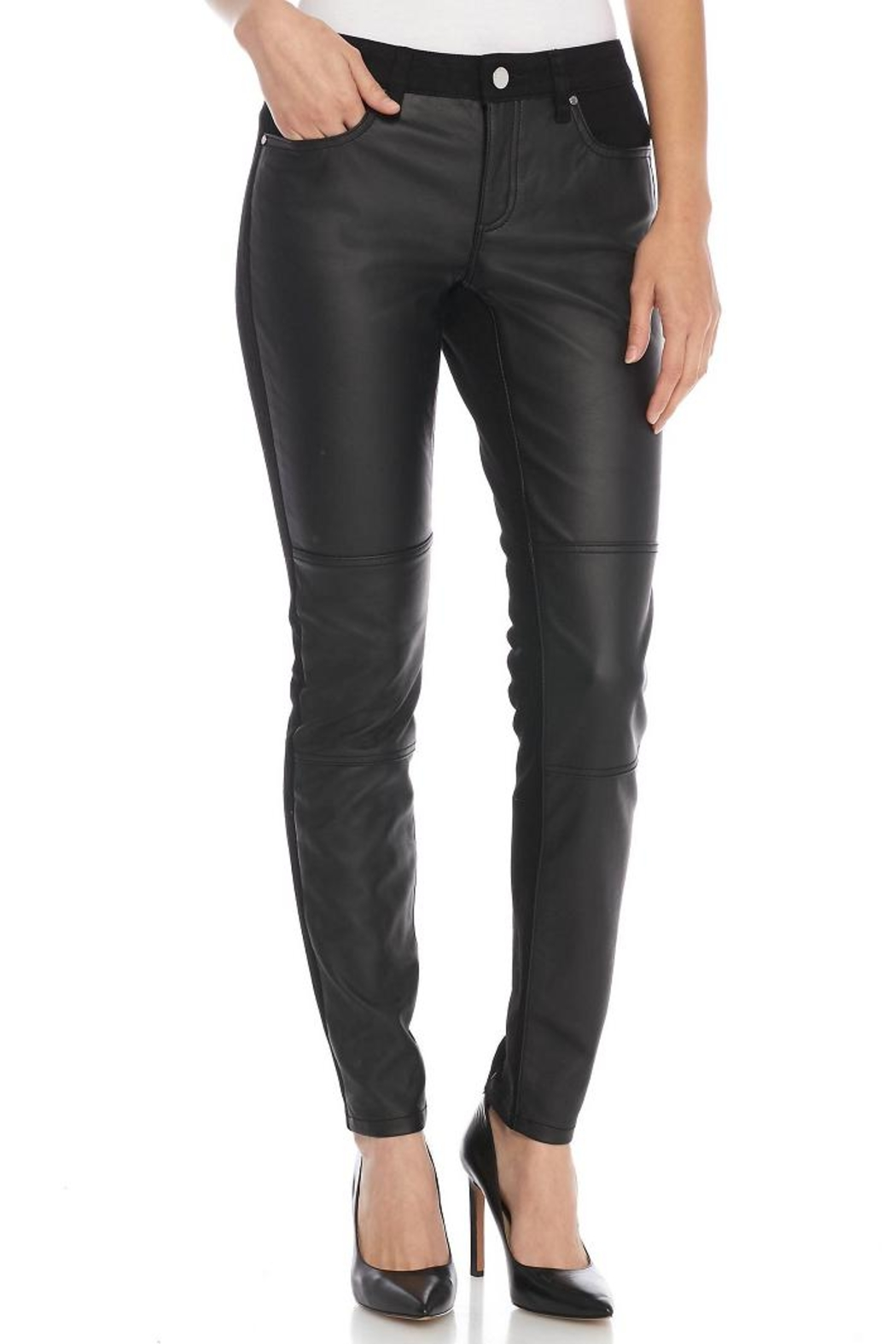 Michael Kors Faux Leather Skinny Denim - Main Image