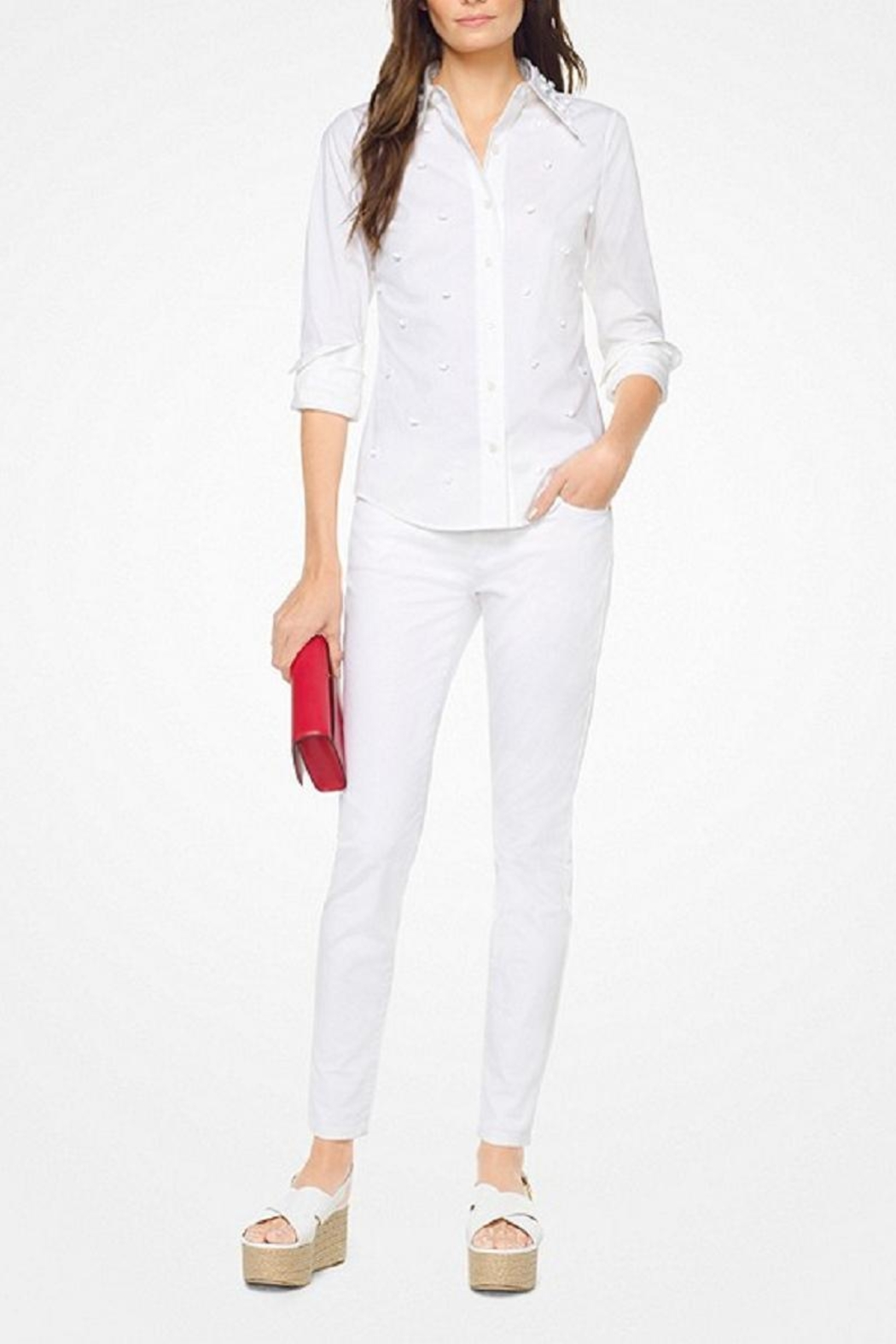 Michael Kors Floral-Embroidered-Cotton-Poplin Shirt - Main Image