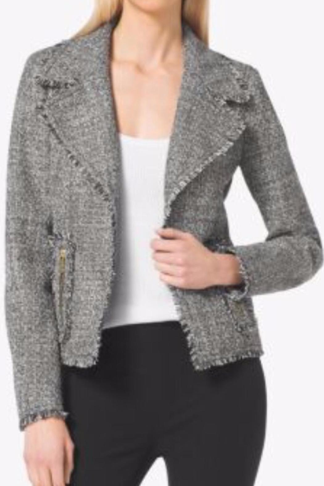 MICHAEL Michael Kors Frayed Tweed Jacket - Front Cropped Image