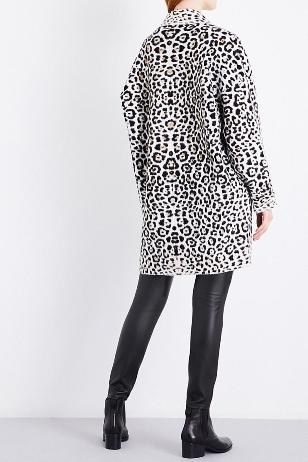 Michael Kors Leopard Wool Blend Jacket - Front Full Image