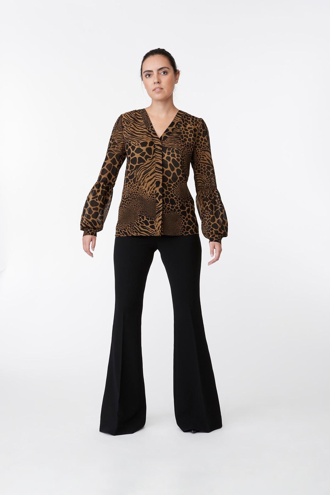 Michael Kors Animal Print Lace Top - Front Cropped Image