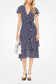 Shoptiques Product: Navy Polka-Dot-Geogette-Wrap Dress