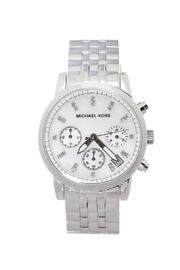 Michael Kors Silver Glitz Watch - Front cropped