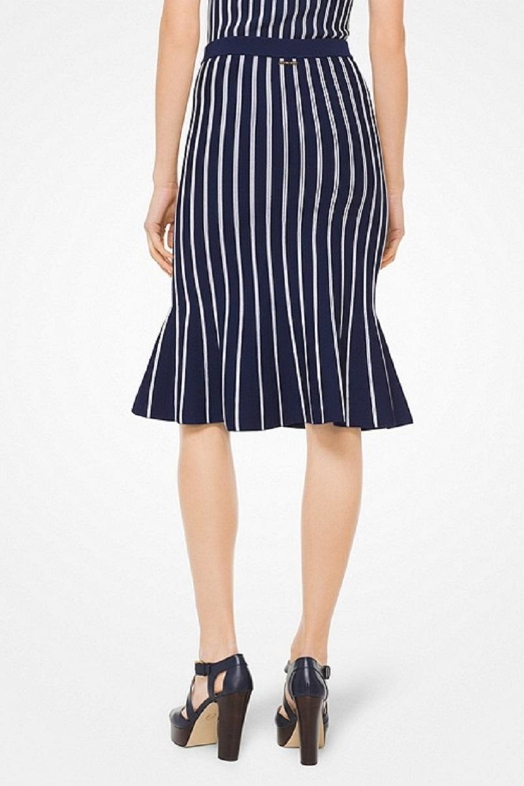 Michael Kors Striped-Stretch Trumpet Skirt - Front Full Image