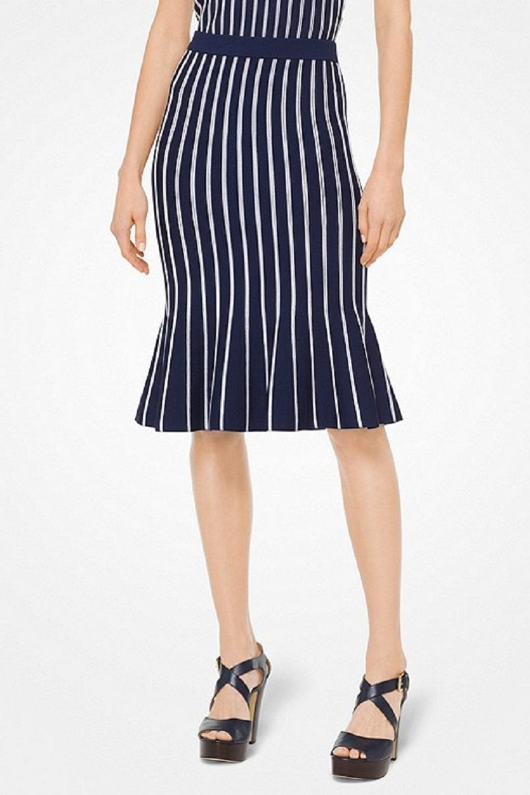Michael Kors Striped-Stretch Trumpet Skirt - Main Image