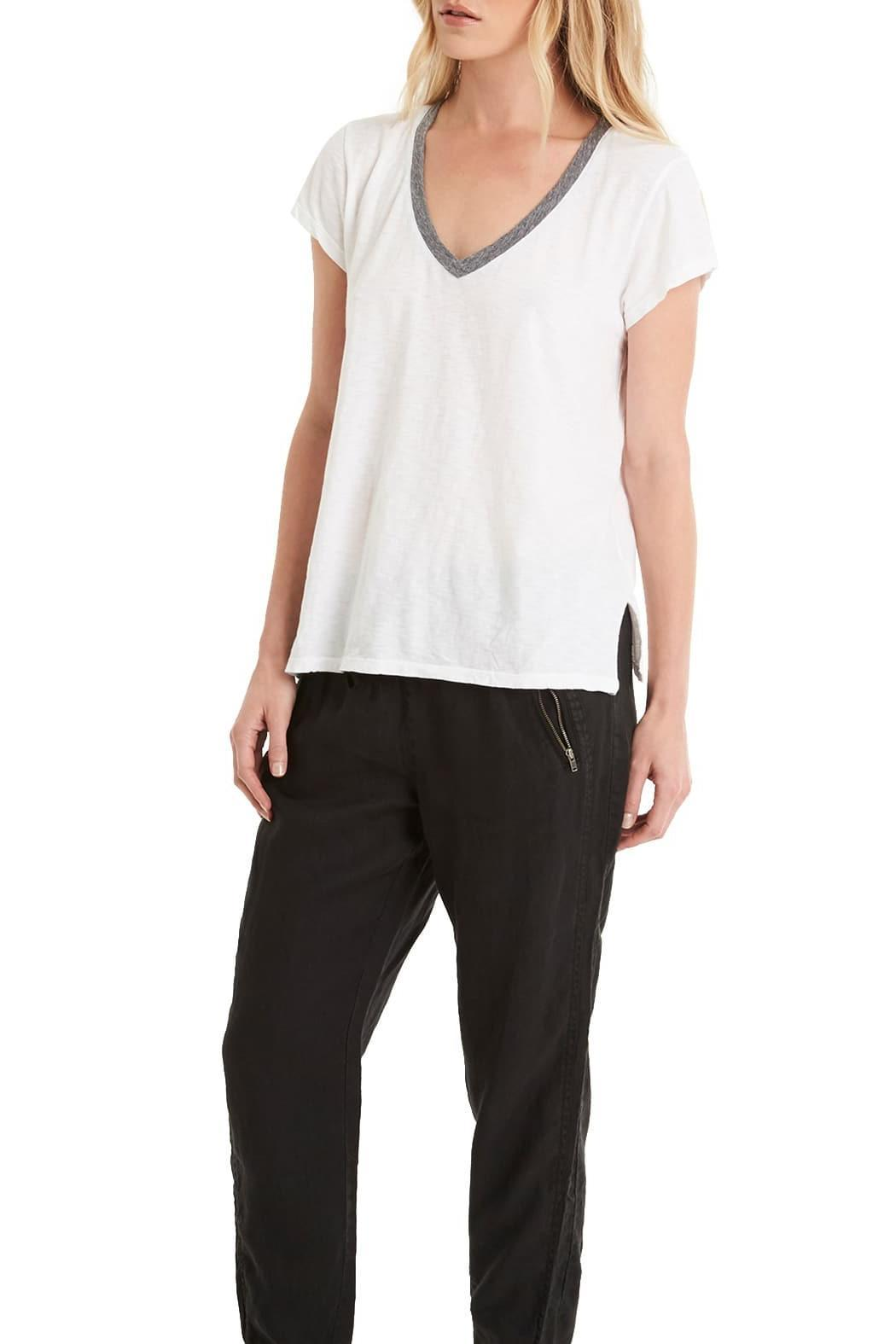 Michael Stars Contrast V Neck Tee - Side Cropped Image
