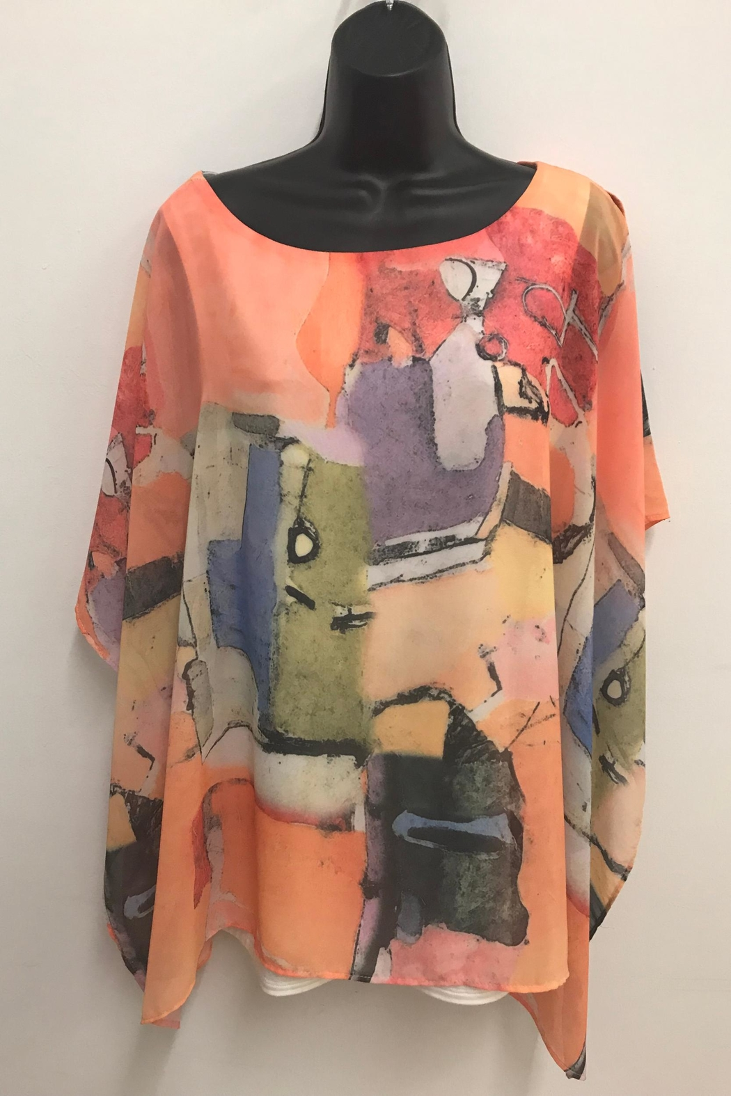 Michael Tyler Collections Printed Poncho Top - Main Image