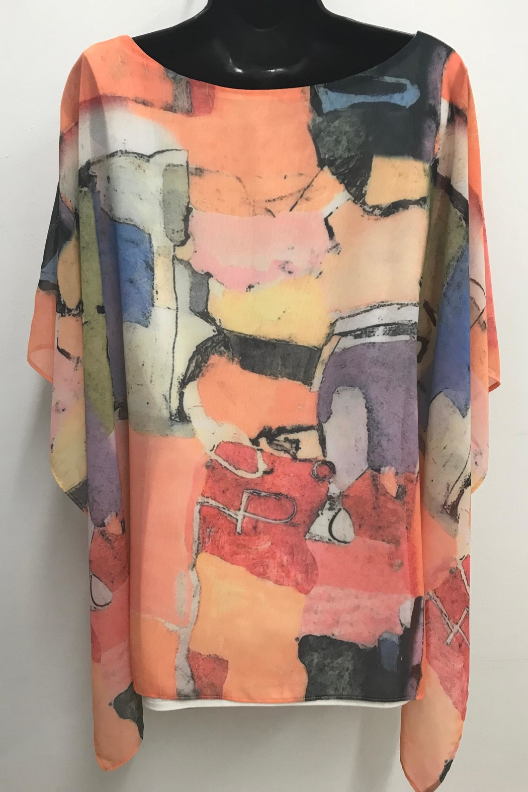 Michael Tyler Collections Printed Poncho Top - Side Cropped Image