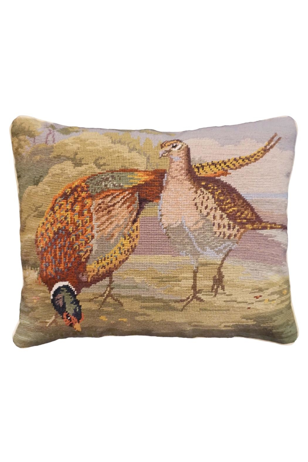 Michaelian Home Pheasant Needlepoint Pillow - Main Image