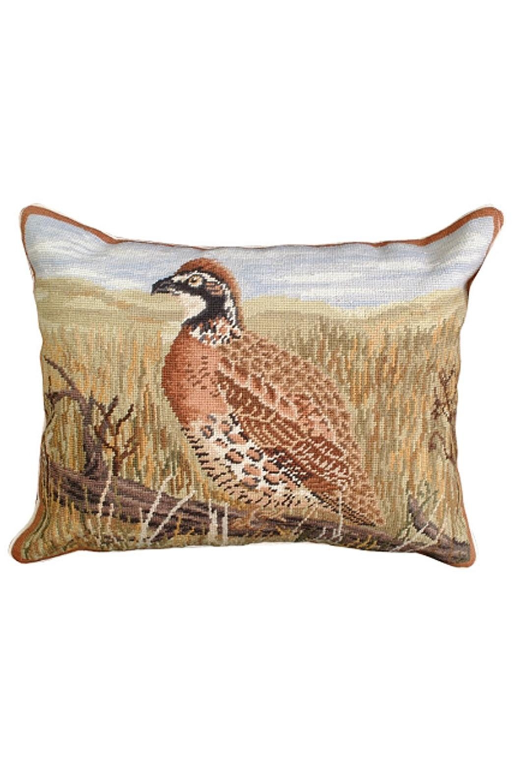 Michaelian Home Quail Needlepoint Pillow - Front Cropped Image