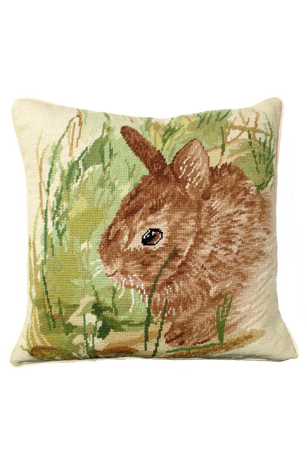 Michaelian Home Rabbit Needlepoint Pillow - Front Cropped Image