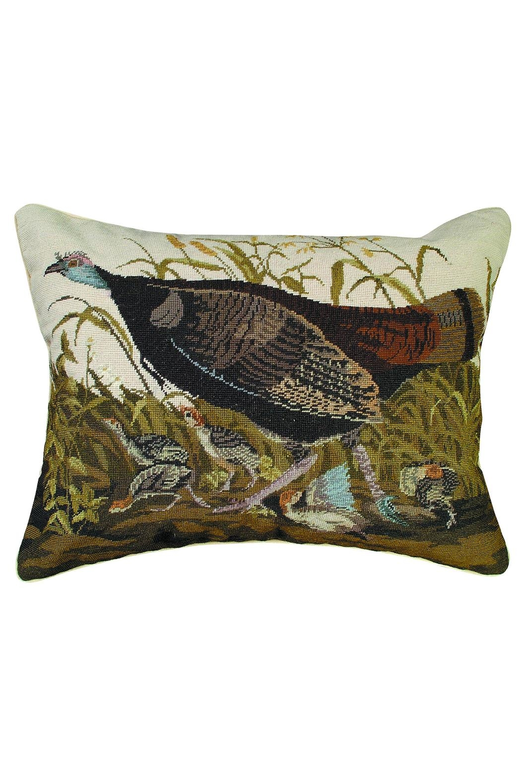 Michaelian Home Turkey Hen Needlepoint Pillow - Front Cropped Image