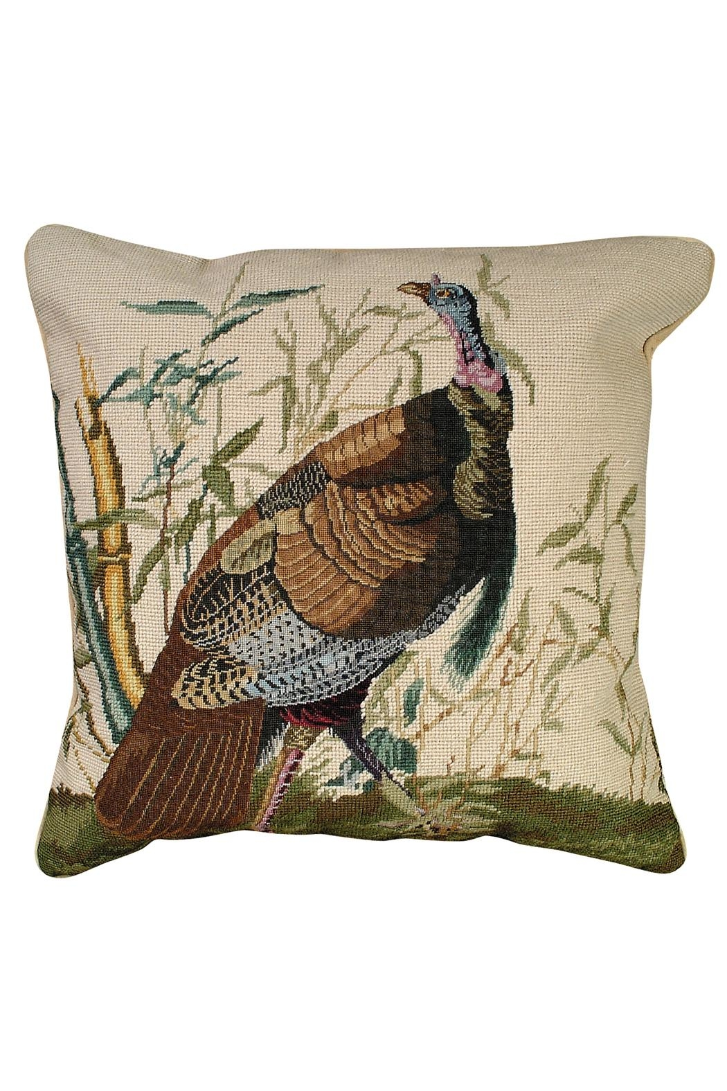 Michaelian Home Turkey Needlepoint Pillow - Front Cropped Image