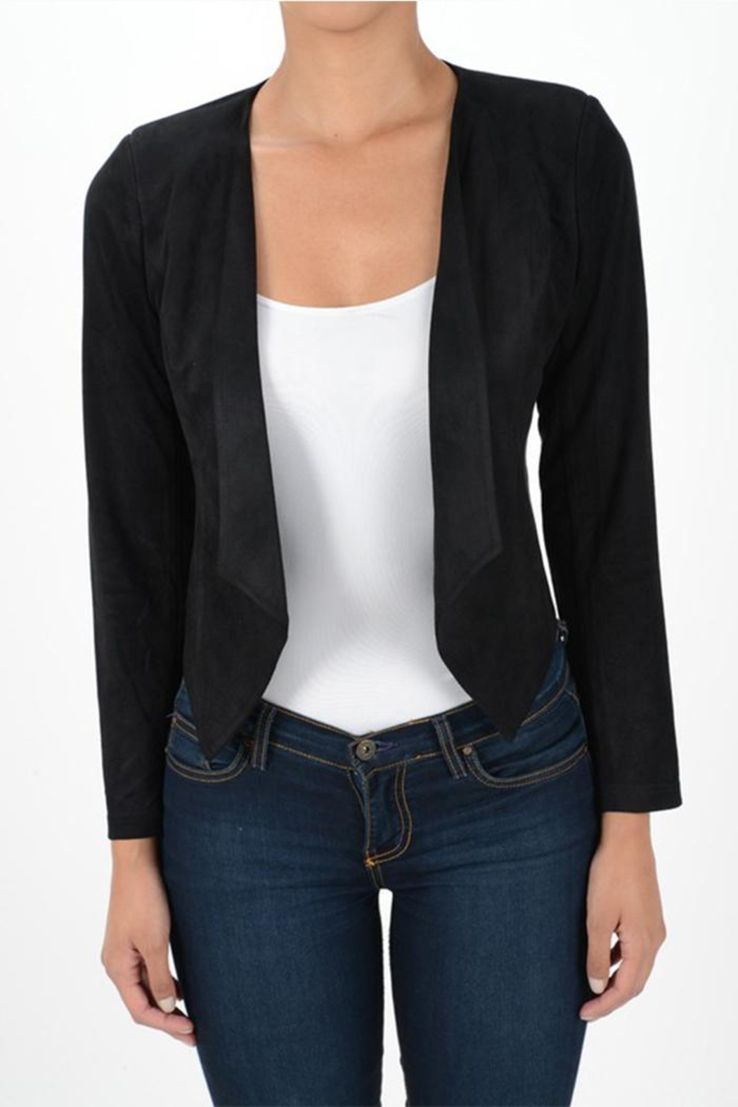 MICHEL Draped Open Blazer - Front Cropped Image