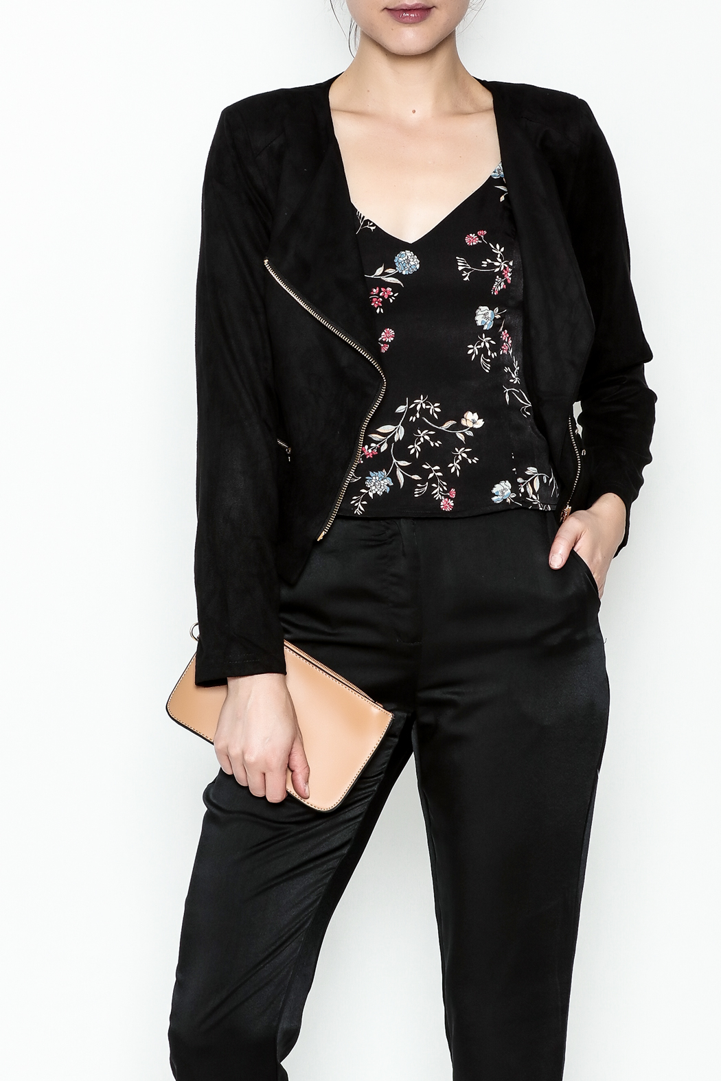 MICHEL Faux Suede Moto Jacket - Front Cropped Image